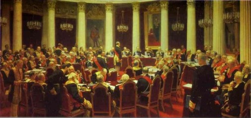 Famous painting of the Great Council of State by Ilya Repin